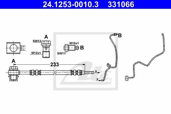 Przewód hamulcowy elastyczny ATE 24.1253-0010.3