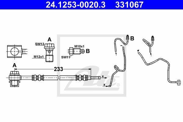 Przewód hamulcowy elastyczny ATE 24.1253-0020.3