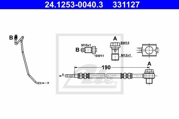Przewód hamulcowy elastyczny ATE 24.1253-0040.3