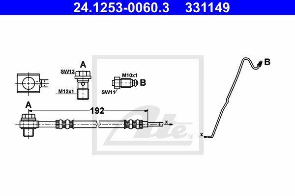 Przewód hamulcowy elastyczny ATE 24.1253-0060.3