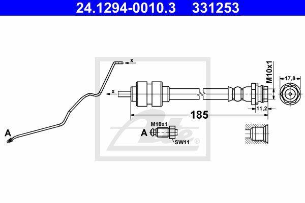 Przewód hamulcowy elastyczny ATE 24.1294-0010.3
