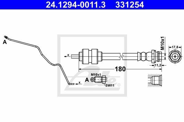 Przewód hamulcowy elastyczny ATE 24.1294-0011.3