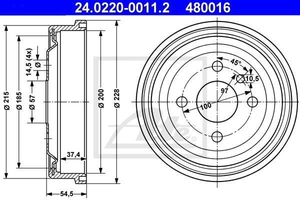 Bęben hamulcowy ATE 24.0220-0011.2