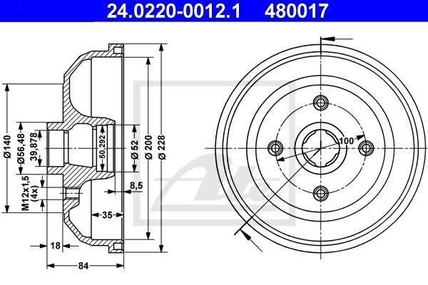 Bęben hamulcowy ATE 24.0220-0012.1