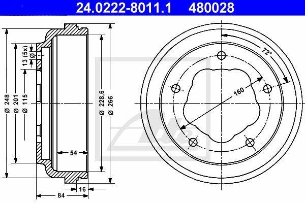 Bęben hamulcowy ATE 24.0222-8011.1
