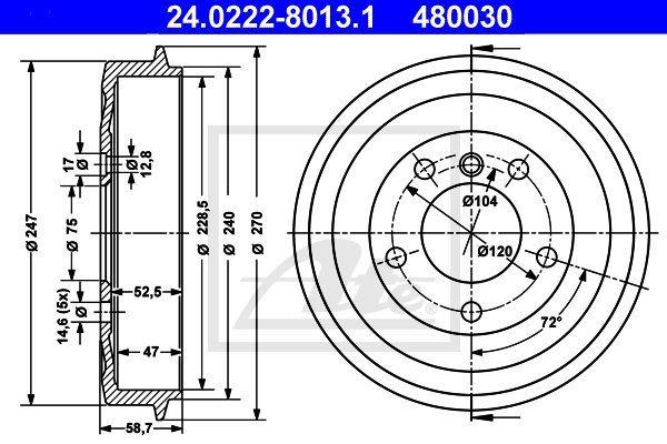 Bęben hamulcowy ATE 24.0222-8013.1