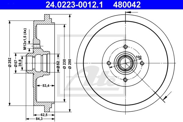 Bęben hamulcowy ATE 24.0223-0012.1
