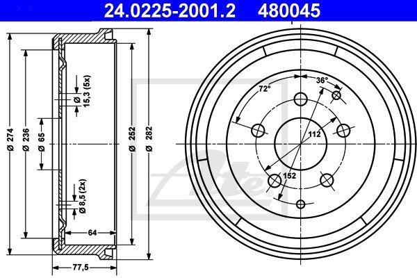 Bęben hamulcowy ATE 24.0225-2001.2