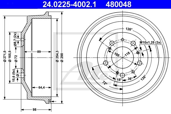 Bęben hamulcowy ATE 24.0225-4002.1