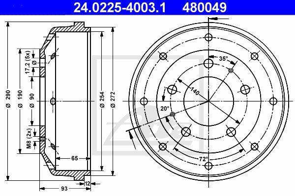 Bęben hamulcowy ATE 24.0225-4003.1