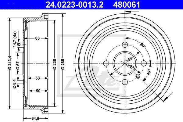 Bęben hamulcowy ATE 24.0223-0013.2
