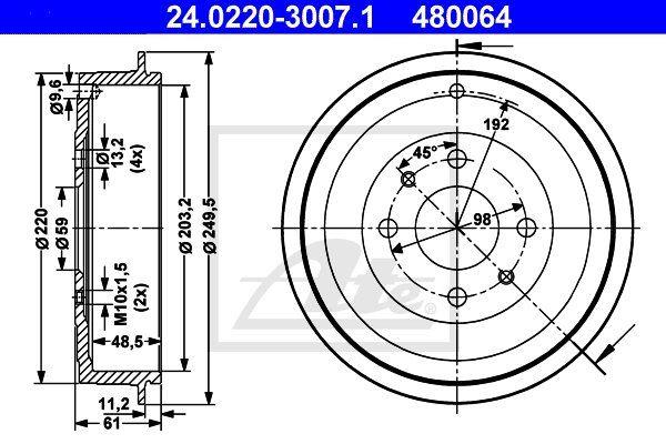 Bęben hamulcowy ATE 24.0220-3007.1