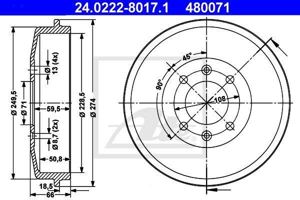 Bęben hamulcowy ATE 24.0222-8017.1