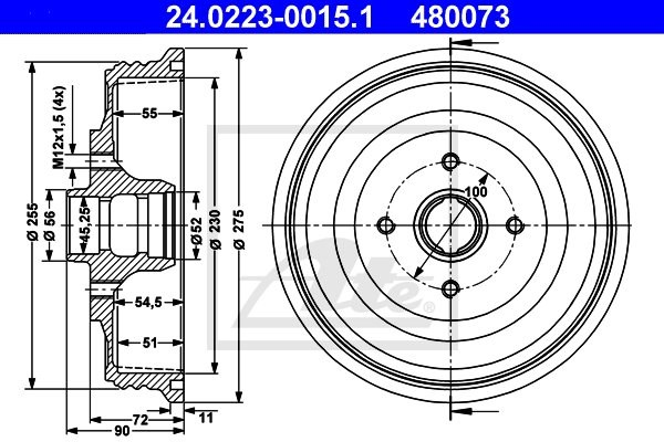 Bęben hamulcowy ATE 24.0223-0015.1