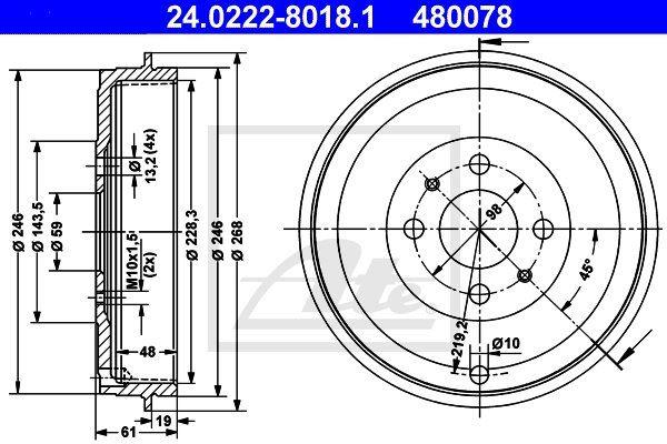Bęben hamulcowy ATE 24.0222-8018.1
