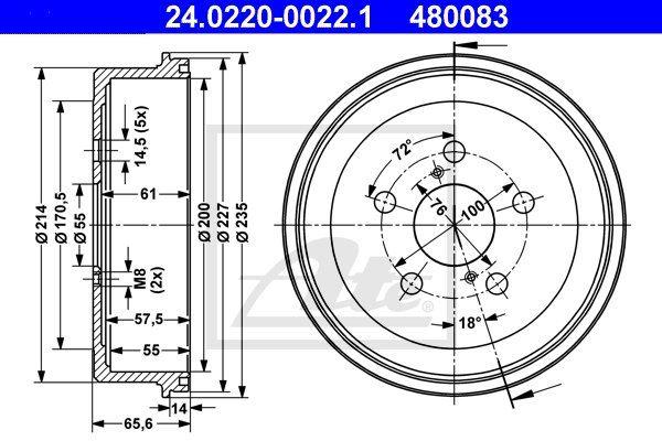 Bęben hamulcowy ATE 24.0220-0022.1