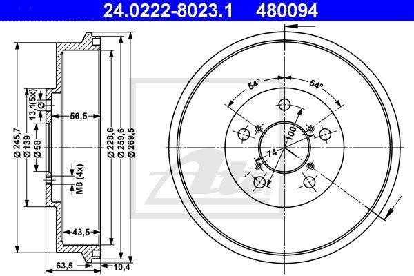 Bęben hamulcowy ATE 24.0222-8023.1
