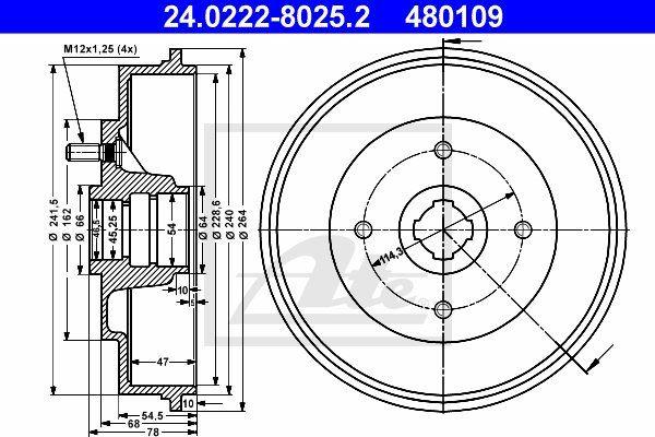 Bęben hamulcowy ATE 24.0222-8025.2