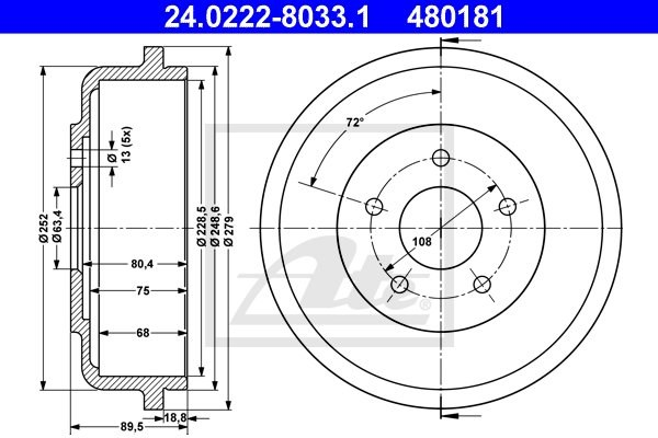 Bęben hamulcowy ATE 24.0222-8033.1