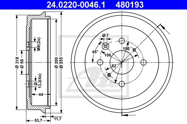 Bęben hamulcowy ATE 24.0220-0046.1