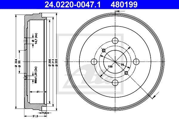 Bęben hamulcowy ATE 24.0220-0047.1
