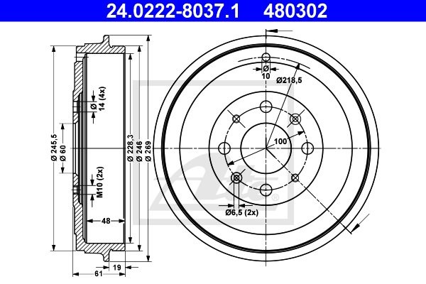Bęben hamulcowy ATE 24.0222-8037.1